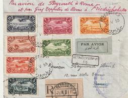 Grand Liban - Lettre Recommandé Par Avion Pour Rome Puis Par Zeppelin Pour L Allemagne Et Puis Paris - Briefe U. Dokumente