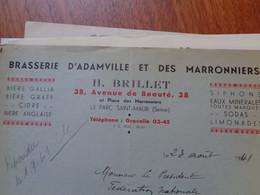 THEME BIERE - FACTURE - BRASSERIE D'ADAMVILLE & DES MARRONNIERS, 94, ST MAUR DES FOSSES : H. BRILLET - Beer