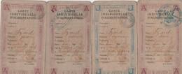 1919 VERSAILLES - 4 Cartes D'Alimentations Avec Tickets A & J - Famille IZARD - Historical Documents
