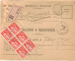 BLOC 6X 50C PAIX TARIF VALEURS A RECOUVRER RECOMMANDEES OBLITERATION ST MACAIRE 5/8/40 ARRIVEE ROYAN PONTAILLAC - 1921-1960: Moderne