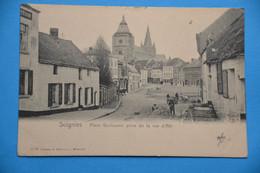 Soignies1905: Place Guillaume Prise De La Rue De Ath Très Animée - Soignies