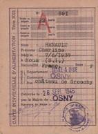 1946/49 OSNY - Carte D'Alimentation Avec Tickets Pour Charline HENAULT - Historical Documents