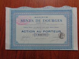 FRANCE - 62 - STE DES MINES DE DOURGES - ACTION DE 10 FRS  - PARIS 1907 - PEU COURANT - Unclassified
