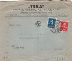 ROMANIA  ARAD -  BUSTA VIAGGIATA  - TEBA - UZINELE ROMANE TEXTILE S.A. ARAD - PER ARBON - SCHWEIZ - 2. Weltkrieg (Briefe)