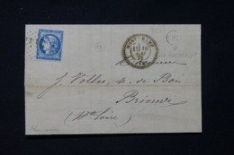 FRANCE - Cachet Perlé De Montchamp Sur Lettre Pour Brioude En 1871, Affranchissement Bordeaux 20ct, GC 2441 - L 87306 - 1849-1876: Klassieke Periode