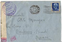 ITALIE YT N°234 OBLITERE SEUL SUR LETTRE OBMITERE POUR LA FRANCE DOUBLE CENSURE - Storia Postale