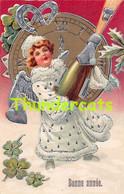 CPA EN RELIEF GAUFREE FILLE  ENFANT EMBOSSED CARD GIRL  CHAMPAGNE ANGE ANGEL - Kinder-Zeichnungen