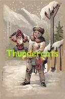 CPA EN RELIEF GAUFREE ENFANT GARCON  EMBOSSED CARD CHILD BOY SNOW PUPPET POUPEE DOLL MARIONETTE SANTA CLAUS PERE NOEL - Kinder-Zeichnungen