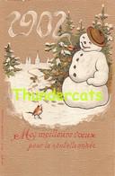 CPA EN RELIEF GAUFREE  EMBOSSED CARD  BONHOMME DE NEIGE PUPPET SNOWMAN 1902 YEAR DATE ANNEE MILLESIME - Sonstige