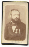 ALGERIE-Photo Début 20° CDV Portrait Homme Avec Médailles... - Personnes Anonymes