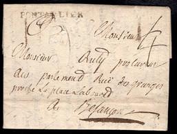 France (1766) Folded Letter To Besançon, PONTALIER Hand Stamp. - 1701-1800: Precursores XVIII