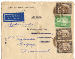 ADEN AFFRANCHISSEMENT MULTIPLES OBLITERE SUR LETTRE EN POSTE AERIENNE POUR LA SUEDE CENSURE - Aden (1854-1963)