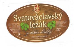 "Czech Republic - Brewery Dudak (""Piper"") In City Strakonice, Blond Lager Beer Svatovaclavsky Lezak,self-adhesive Label - Birra"