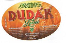 "Czech Republic - Brewery Dudak (""Piper"") In City Strakonice, Blond Draught Beer "" Summer Piper"") Self-adhesive Label - Birra"
