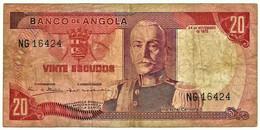 Angola - 20 Escudos - 24.11.1972 - Pick 99 - Série NG - Marechal Carmona - PORTUGAL - Angola