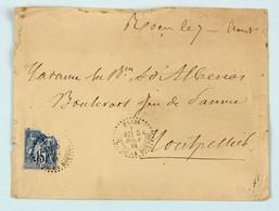Cachet D'essai Paris Pl. De La Bourse Sur Lettre 1881, Paris Pour Montpellier, Affr. 15c Type Sage Timbre Abimé - 1877-1920: Période Semi Moderne