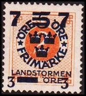 1918. Landstorm III. 7+3 On 5+Fem Öre On 2 ö Orange Wmk Wavy Lines. /. Hinged. (Michel 115) - JF414259 - Neufs