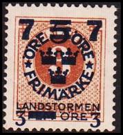 1918. Landstorm III. 7+3 On 5+Fem Öre On 3 ö Yellow Brown. Wmk. \ + KPV. Never Hinged... (Michel 116) - JF414260 - Neufs