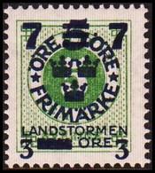 1918. Landstorm III. 7+3 On 5+Fem Öre On 5 ö Green Wmk Wavy Lines \ + KPV. Never Hing... (Michel 118) - JF414262 - Neufs