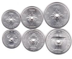 Laos - Set 3 Coins 10 20 50 Cents 1952 AUNC Lemberg-Zp - Laos