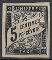 France, Colonies, General Issues - Französische Kolonien - Allgemeine Ausgaben 1884/1885. Portomarke Mi.Nr. 5, *, MH - Taxes