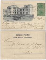 Brazil 1903 Postcard Greetings From São Paulo Ipiranga Monument Editor Guilherme Gaensly Sent To Paris France Stamp - São Paulo