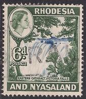 Rhodesia & Nyasaland 1959 - 62 QE2 6d Victoria Falls Used SG 24 ( D1071 ) - Rhodesien & Nyasaland (1954-1963)