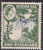Rhodesia & Nyasaland 1959 - 62 QE2 6d Victoria Falls Used SG 24 ( D1197 ) - Rhodesien & Nyasaland (1954-1963)