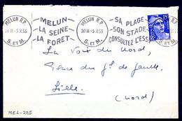 Lil3605 MELUN RP S. ET M. KRAG MEL225 Melun La Seine La Forêt Sa Plage ... /L 05/10/53 - Mechanische Stempels (reclame)
