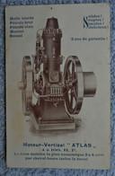 CPA 1914 Publicité Moteur-vertical Atlas Adressée Au Commandant Des Pompiers De Petigny - Pubblicitari