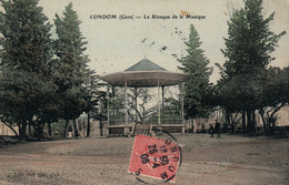 Condom (Gers) Le Kiosque De La Musique - Photo-Edition Tapie - Carte Colorisée De 1906 - Condom