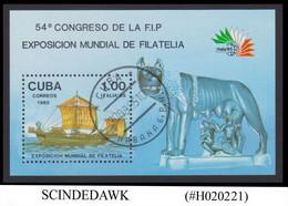 CUBA - 1985 PHILATELIC EXHIBITION / SHIP - MIN/SHT CTO - Neufs