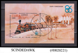 CUBA - 1986 VANCOUVER EXPO / STEAM LOCOMOTIVES RAILWAY - MIN/SHT CTO - Neufs