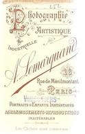 252 PHOTOGRAPHIE A. LEMARQUAND 16 Rue De Ménilmontant - PARIS - Carte Photo (Carte De Visite) - Anonieme Personen