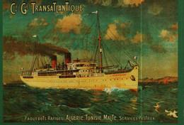 Carte Postale  Publicité -   Repro -    Paquebot -  Cie Gle TRANSATLANTIQUE    ALGERIE TUNISIE MALTE - Pubblicitari