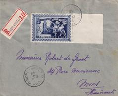DDY 500 - Enveloppe Recommandée TP 638 (Bord De Feuille) Secours D' Hiver MORLANWELZ 1944 à MONS - COB 55 EUR S/lettre - Sin Clasificación