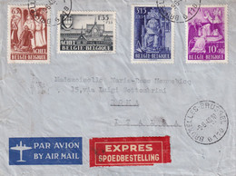 DDY 501 - Enveloppe AVION EXPRES Série Achel TP 773/6 BXL 1948 Vers ROME - COB 100 EUR S/lettre - Sin Clasificación