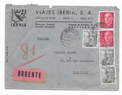 1955 ESPAGNE VIAJES IBERIA BARCELONA - Marcofilia - EMA ( Maquina De Huellas A Franquear)
