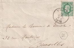 DDY 507 - Enveloppe TP 30 YPRES 1878 Vers La Baronne De Gericke à BXL - RARE Boite Urbaine Hexagonale DL - 1869-1888 Liggende Leeuw