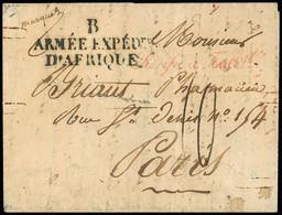 """FRANCE Lettre De Bône (20 Mai 1834) Pour Paris Avec MP """"B Armée Expédre D'Afrique"""" Et Cursive Rouge """"Purifié à Toulon"""". - 1801-1848: Precursori XIX"""