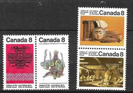 Canada     N°  521 à 524 Indiens De La Cote Pacifique Neufs  * * B/TB    Voir Scans  Soldé  Le Moins Cher Du Site  ! ! ! - Costumes