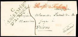 """FRANCE Lettre De Bougie  Pour Privas Avec MP """"C Armée Expédre D'Afrique"""" + Cursive Rouge """"Purifié à Toulon""""  Et Taxe 5 - 1801-1848: Precursori XIX"""