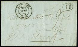 """FRANCE Lettre Avec CAD Type 14 """"Bône Poss. D'Afr."""" Pour Cébézat (Puy De Dôme) Entaille De Purification + Décime Rural TB - 1801-1848: Precursori XIX"""