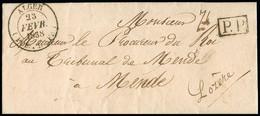 """FRANCE Lettre Avec CAD Type 14 """"Alger Poss. D'Afr."""" (23 Fevr 1838) + """"PP"""" Encadré Noir. TB - 1801-1848: Precursori XIX"""