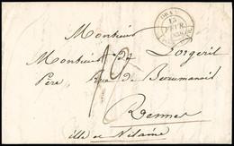 """FRANCE Lettre Avec CAD Type 14 """"Oran (poss. D'Afr)"""" (15 Fev 1838) + Taxe 12 Manuscrite Et Entaille De Purification. TB - 1801-1848: Precursori XIX"""
