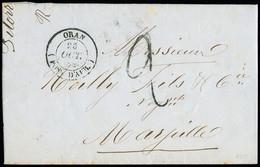 """FRANCE Lettre Avec CAD Type 14 """"Oran (poss. D'Afr)"""" (25 Oct 1849) Pour Marseille Avec Taxe 2 Tampon Façon Manuscrite. TB - 1801-1848: Precursori XIX"""