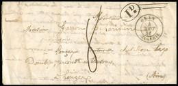 """FRANCE Lettre Avec CAD Type 15 """"Oran Algérie"""" Pour Chatillon Les Dombes (Ain) Avec Taxe 8 Manuscrite + Décime Rural Noir - 1801-1848: Precursori XIX"""