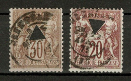 LOT De TIMBRES Au TYPE SAGE N° 67 + 69  Avec PERFORATION EN FORME DE TRIANGLE CAD GRENOBLE - 1876-1878 Sage (Type I)
