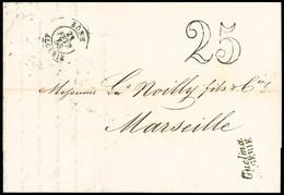 """FRANCE Lettre Avec Cursive """"Guelma Algérie"""" (21 Fev 1853)  + CAD Type 15 """"Bone Algérie"""" + Taxe 25 Double-trait, Ind 22 - 1849-1876: Periodo Classico"""