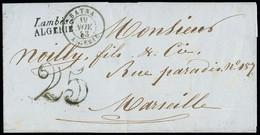 """FRANCE Lettre Avec Cursive """"Lambèse Algérie"""" + CAD Type 15 """"Batna Algérie"""" (19 Nov 53) + Taxe 25 Double-trait, Ind 19 TB - 1849-1876: Periodo Classico"""